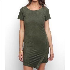 NWT Abbeline olive suede short sleeve mini dress